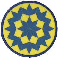 Yellow Blue Quilt Pattern Hand Fan