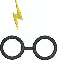 Glasses with Lightning Bolt Wizard Embroidery Design