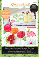 Welcome Spring Bench Pillow Machine Embroidery CD
