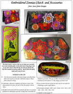 Embroidered Zinnias Clutch and Accessories Embroidery CD