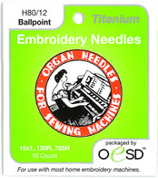 Organ Titanium Ballpoint 80/10 Embroidery Needles