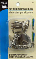 Key Fob Hardware Silver Nickel 5/pkg