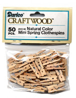 1in Mini Spring Natural Wood Color Clothes Pin 50/pkg