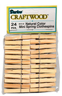 1-7/8in Small Spring Natural Wood Color Clothes Pin 24/pkg
