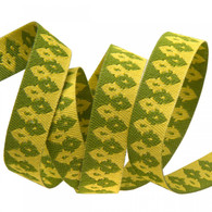 3/8in Ribbon Green on Gold Wanderer Wanderer by Tula Pink - By The Yard