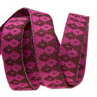 3/8in Ribbon Burgundy on Pink Wanderer by Tula Pink - By The Yard