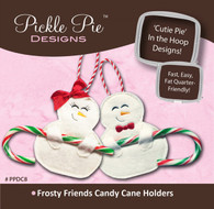 Frosty Friends Candy Cane Holders In the Hoop Machine Embroidery Designs with CD