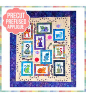 Lunch Box Cats Meow Pre-Cut Pre-Fused Laser Cut Quilt Kit