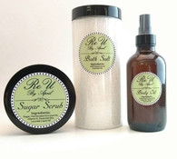 3 Piece Gift Set Sugar Scrub 8oz - Bath Salt 16oz - Body Oil 4oz Customize with Essential Oil