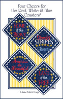 Four Cheers for the Red, White & Blue Coasters Embroidery Design CD