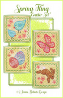 Spring Fling Coaster Set Machine Embroidery Design CD