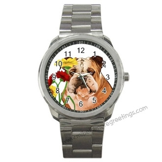 Mi Bellamore Bulldog with Flowers Watch Carolina Pet Pantry