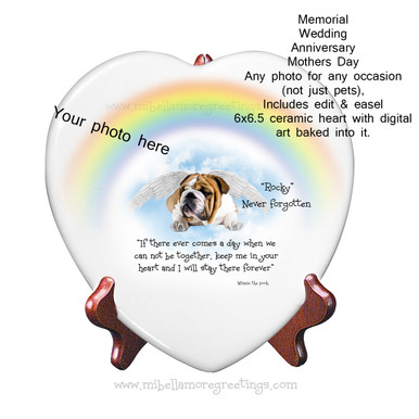 Mi Bellamore Custom Ceramic Heart on Easel Carolina Pet Pantry