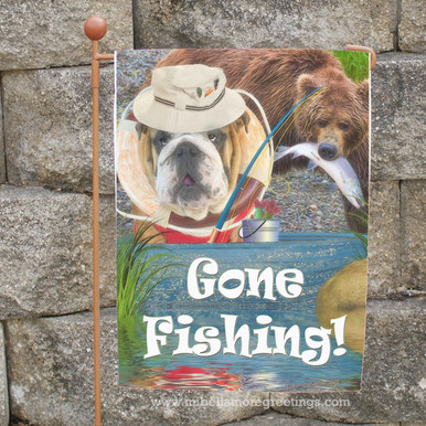 This Cute Garden Flag Featuring A Fishing Bulldog And A Curious Bear Is  Sure To Bring