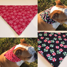 Reversible Collar Bandana Red Flannel Snowflakes & Peppermints