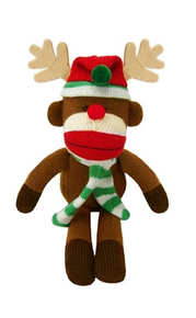 "Lulubelles - 11"" Holiday Sock Monkey Max - Reindeer"