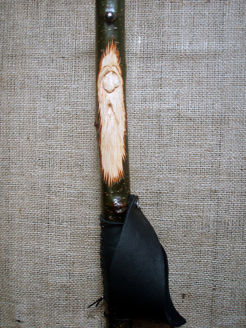Wood Spirit with Vine and Leaf and soft black leather