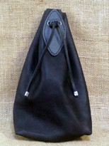 Large drawstring leather bag can hold a water bottle, camera or even a light jacket