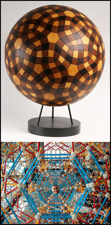 Wood sculpture and Zome model by George Hart