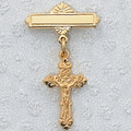 Gold Plated Sterling Silver Crucifix Baby Pin, Gift Boxed