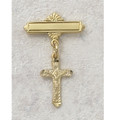 Gold Plated Sterling Silver Crucifix Baby Pin