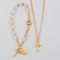 Gold Pink Baby Bracelet & Crucifix Pendant Set, Boxed