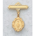 Gold Plated Sterling Silver Miraculous Medal Baby Pin, Boxed