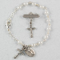 Silver Pearl Baby Bracelet & Crucifix Pin Set, Boxed