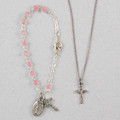 Silver Pink Baby Bracelet & Crucifix Pendant Set, Boxed bs30