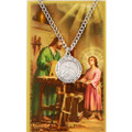 St. Joseph The Worker Pewter Medal and Holy Card