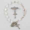 Silver Mother Of Pearl Baby Bracelet & Crucifix Pin Set, Boxed