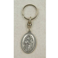 St. Christopher Key Ring, Silver Oxidized