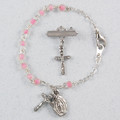 Silver Pink Pearl Baby Bracelet & Crucifix Pin Set, Boxed