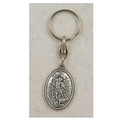 St. Michael Key Ring, Silver Oxidized