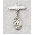 Oval Sterling Silver Miraculous Medal Baby Pin