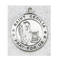 "St. Cecilia Sterling Silver Medal and 20"" Chain"