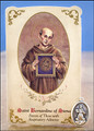 St Bernardine of Siena (Respiratory Ailments) Healing Holy Card with Medal