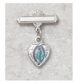Sterling Silver and Blue Miraculous Medal Baby Pin