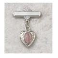 Sterling Silver and Pink Miraculous Medal Baby Pin