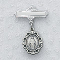 Sterling Silver Miraculous Medal Baby Pin, Boxed