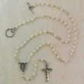 Silver Pearl Rosary Necklace 3mm