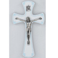 White and Silver Crucifix with Blue