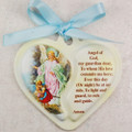 Guardian Angel Heart Crib Medallion with blue ribbon