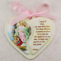 Guardian Angel Heart Crib Medallion with pink ribbon