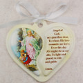 Guardian Angel Heart Crib Medallion with white ribbon