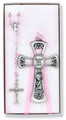 Crib Cross and Rosary Set for Girls