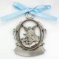 Engravable Pewter Crib Medal w/blue ribbon