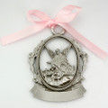 Engravable Pewter Crib Medal w/pink ribbon