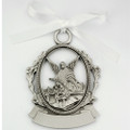 Engravable Pewter Crib Medal w/white ribbon