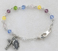 "5-1/2"" Multi Color Sterling Silver Baby Bracelet"